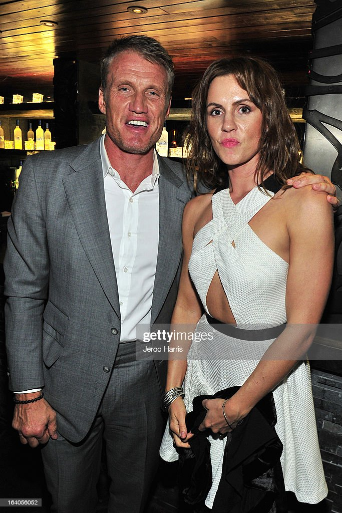 Dolph Lundgren and Jenny Sandersson attend 'Olympus Has Fallen' Premiere Reception presented by Grey Goose Vodka at Lure on March 18, 2013 in Hollywood, California.