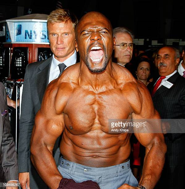 Dolph Lundgren and Terry Crews attend the ringing of the opening bell at the New York Stock Exchange on August 19 2010 in New York City