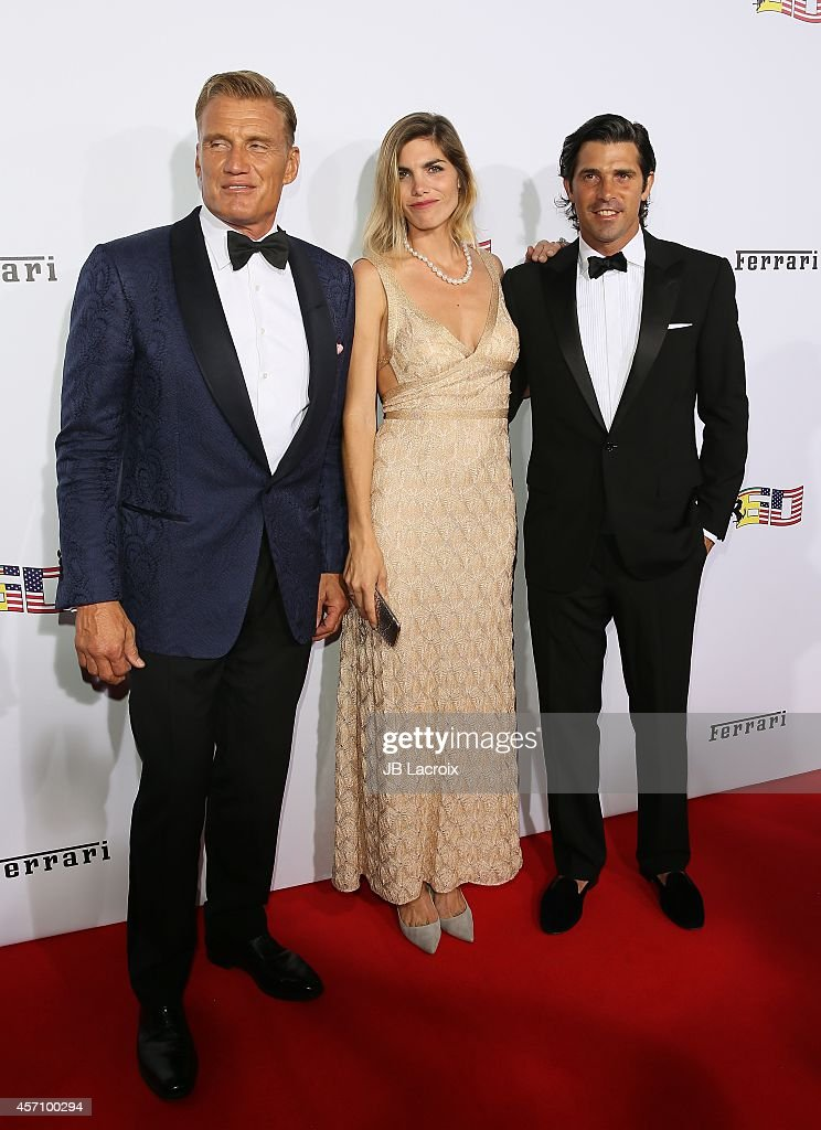 Dolph Lundgren, Delfina Blaquier and professional Polo player Nacho Figueras attend Ferrari's 60th Anniversary in the USA Gala at the Wallis Annenberg Center for the Performing Arts on October 11, 2014 in Beverly Hills, California.