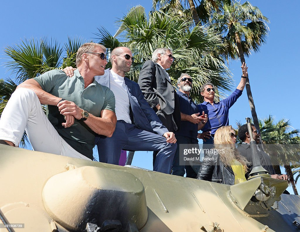 Dolph Lundgren Jason Statham Harrison Ford Mel Gibson Sylvester Stallone Ronda Rousey and Wesley Snipes attend a photocall for 'The Expendables 3' at...