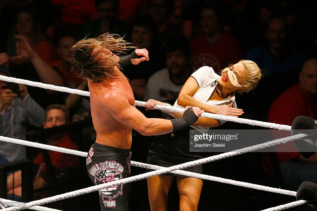 <a gi-track='captionPersonalityLinkClicked' href=/galleries/search?phrase=Dolph+Ziggler&family=editorial&specificpeople=5834435 ng-click='$event.stopPropagation()'>Dolph Ziggler</a> challenges Lana during WWE Germany Live Bremen - Road To Wrestlemania at OVB-Arena on February 10, 2016 in Bremen, Germany.