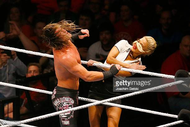 Dolph Ziggler challenges Lana during WWE Germany Live Bremen Road To Wrestlemania at OVBArena on February 10 2016 in Bremen Germany