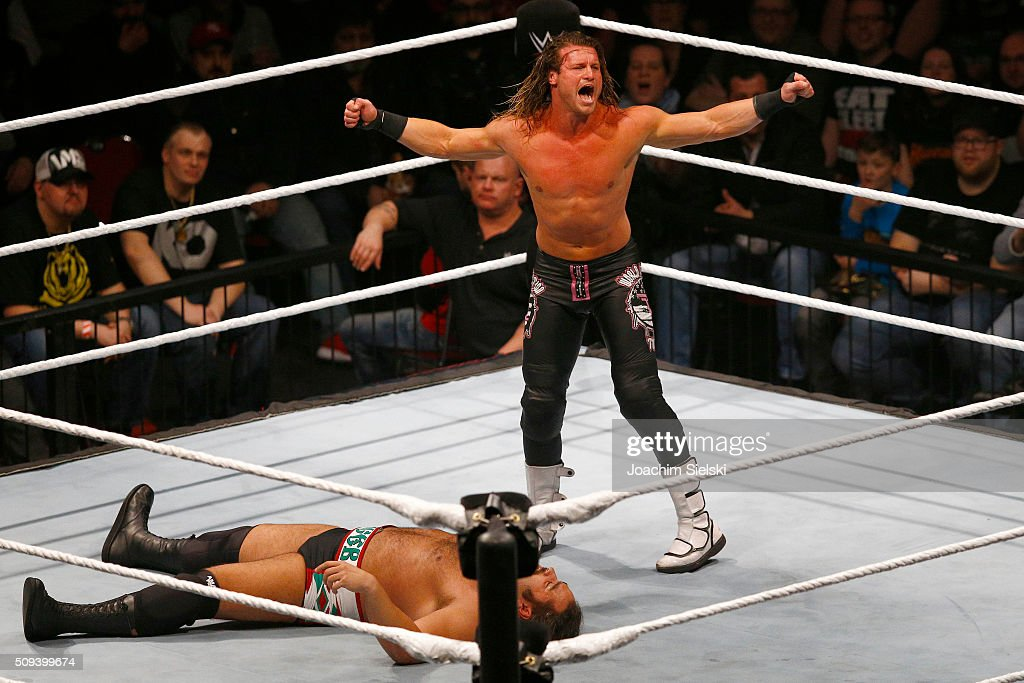 <a gi-track='captionPersonalityLinkClicked' href=/galleries/search?phrase=Dolph+Ziggler&family=editorial&specificpeople=5834435 ng-click='$event.stopPropagation()'>Dolph Ziggler</a> challenges Rusev during WWE Germany Live Bremen - Road To Wrestlemania at OVB-Arena on February 10, 2016 in Bremen, Germany.