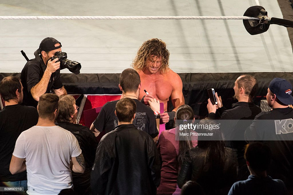 <a gi-track='captionPersonalityLinkClicked' href=/galleries/search?phrase=Dolph+Ziggler&family=editorial&specificpeople=5834435 ng-click='$event.stopPropagation()'>Dolph Ziggler</a> during WWE Road to WrestleMania at the Lanxess Arena on February 11, 2016 in Cologne, Germany.