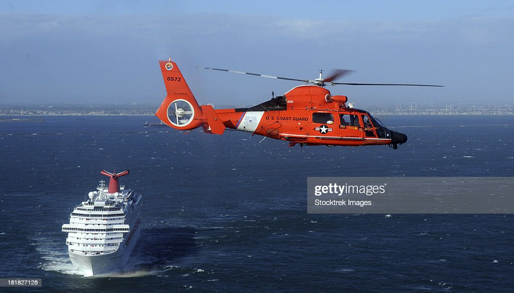 A MH-65C Dolphin helicopter off the coast of San Pedro, California.
