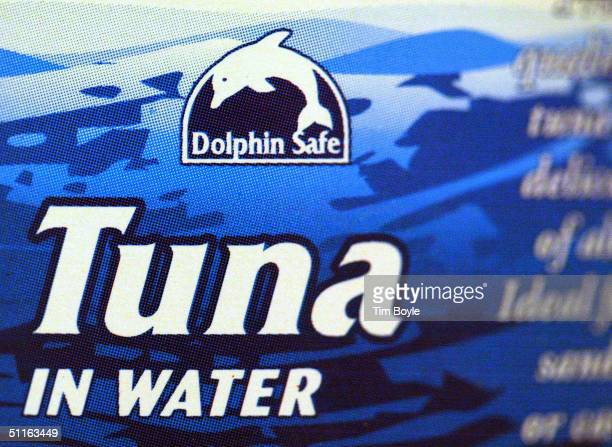 A 'DolphinSafe' label is visible on a can of tuna August 12 2004 in a grocery store in Niles Illinois A federal US court has rejected the Bush...