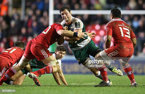 Dom Barrow of Leicester charges upfield during the European Rugby Champions Cup match between Leicester Tigers and Munster at Welford Road on...