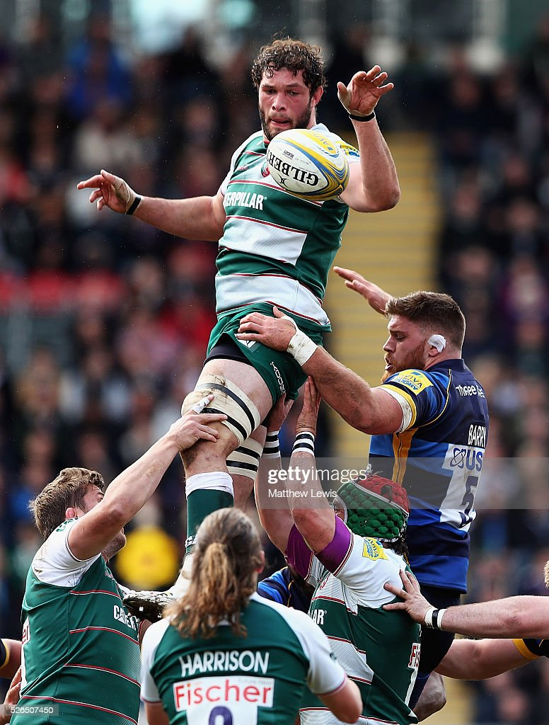 Dom Barrow of Leicester Tigers wins a lineout ball during the Aviva Premiership match between Leicester Tigers and Worcester Warriors at Welford Road on April 30, 2016 in Leicester, England.