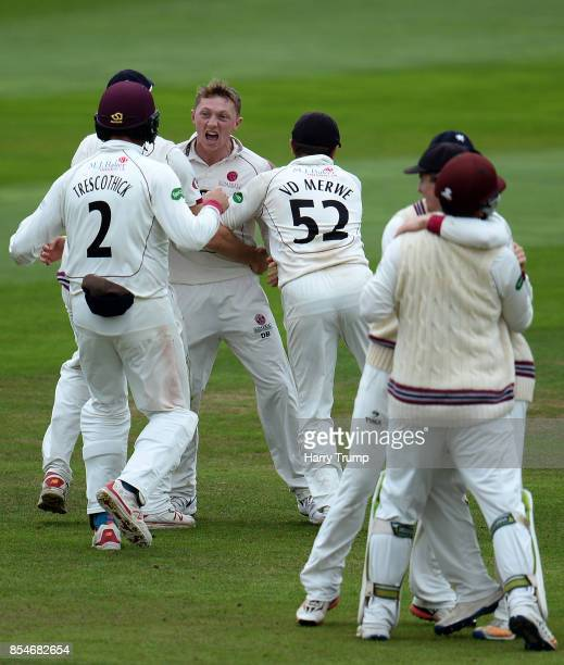 Dom Bess of Somerset celebrate after dismissing David Malan of Middlesex during Day Three of the Specsavers County Championship Division One match...