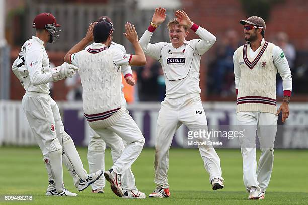 Dom Bess of Somerset celebrates after claiming the wicket of Michael Lumb caught and bowled during day two of the Specsavers County Championship...