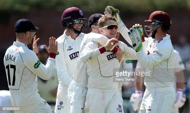 Dom Bess of Somerset celebrates after dismissing Mark Stoneman of Surrey during Day Four of the Specsavers County Championship Division One match...