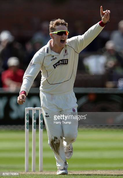 Dom Bess of Somerset celebrates after dismissing Scott Borthwick of Surrey during Day Four of the Specsavers County Championship Division One match...