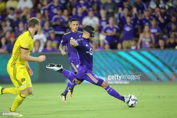 Dom Dwyer of Orlando City SC attempts a shot on goal during a MLS soccer match between the Columbus Crew SC and the Orlando City SC at Orlando City...
