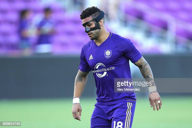 Dom Dwyer of Orlando City SC is seen wearing a protective mask on his face prior to the start of a MLS soccer match between the Columbus Crew SC and...
