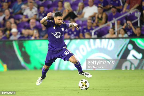 Dom Dwyer of Orlando City SC stops a pass during a MLS soccer match against the New England Revulution at Orlando City Stadium on September 27 2017...