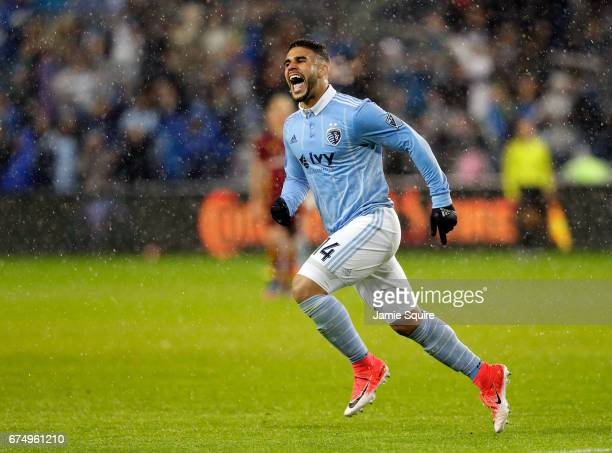 Dom Dwyer of Sporting Kansas City celebrates after scoring a goal during the 2nd half of the game against the Real Salt Lake at Children's Mercy Park...