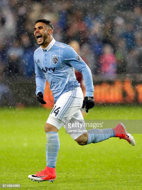 Dom Dwyer of Sporting Kansas City celebrates after scoring a goal during the 2nd half of the game against Real Salt Lake at Children's Mercy Park on...