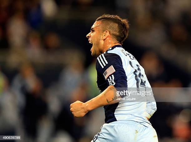 Dom Dwyer of Sporting KC celebrates after scoring against the Philadelphia Union during the game at Sporting Park on May 14 2014 in Kansas City Kansas