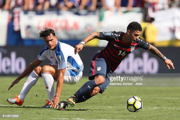 Dom Dwyer of the United States in action during the 2017 CONCACAF Gold Cup Group B match between the United States and Panama at Nissan Stadium on...