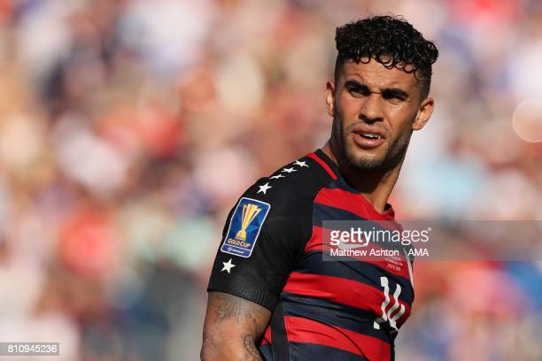 Dom Dwyer of the United States looks on during the 2017 CONCACAF Gold Cup Group B match between the United States and Panama at Nissan Stadium on...