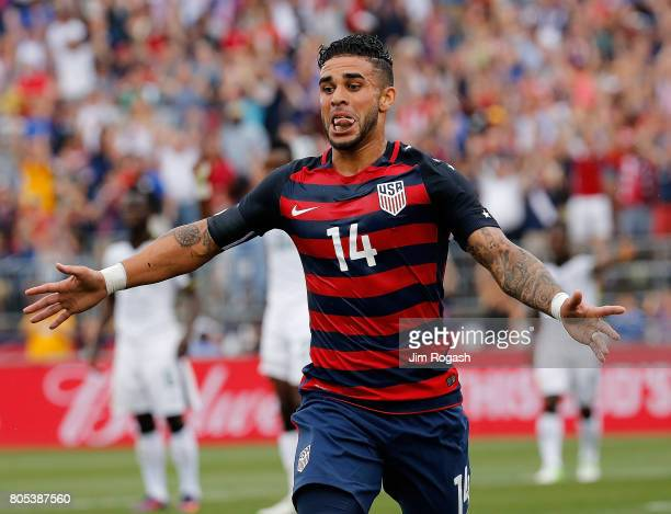 Dom Dwyer of the United States reacts after he scores a goal during an international friendly between USA and Ghana at Pratt Whitney Stadium on July...
