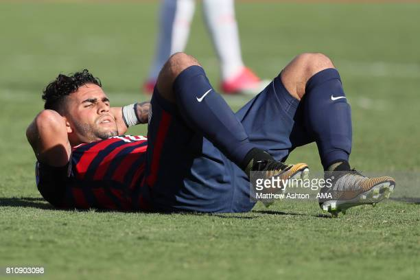 Dom Dwyer of the United States reacts during the 2017 CONCACAF Gold Cup Group B match between the United States and Panama at Nissan Stadium on July...