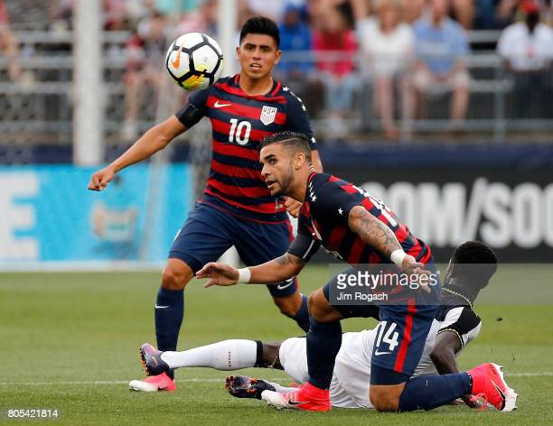 Dom Dwyer of the United States watches the ball against Ghana in the first half during an international friendly between USA and Ghana at Pratt...