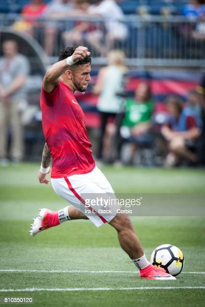Dom Dwyer of US Men's National Team practices his shot on goal before the International Friendly Match between US Men's National Team and Ghana at...