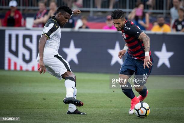 Dom Dwyer of US Men's National Team shows is footwork against John Boye of the Ghana National Team during the International Friendly Match between US...
