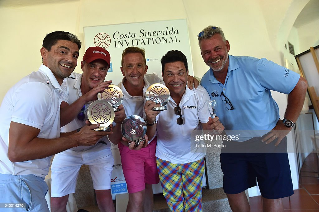 Dom Joly and his team are awarded by Darren Clarke at the end of The Costa Smeralda Invitational golf tournament at Pevero Golf Club - Costa Smeralda on June 25, 2016 in Olbia, Italy.