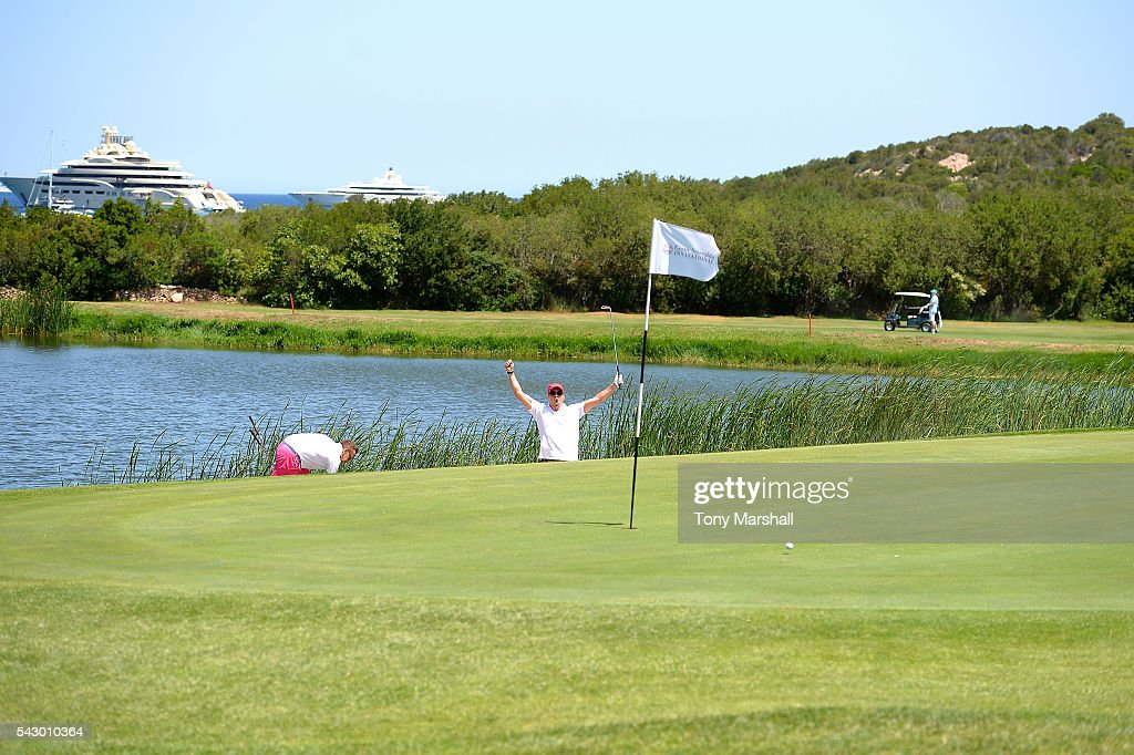Dom Joly and Jamie Cunningham attend The Costa Smeralda Invitational golf tournament at Pevero Golf Club - Costa Smeralda on June 25, 2016 in Olbia, Italy.
