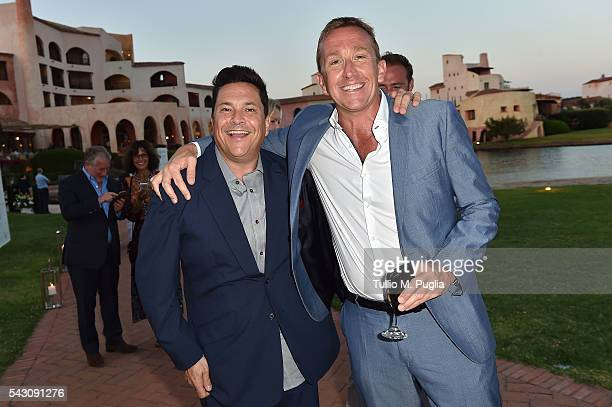 Dom Joly and Jamie Cunningham attend the Gala Dinner during The Costa Smeralda Invitational golf tournament at Pevero Golf Club Costa Smeralda on...