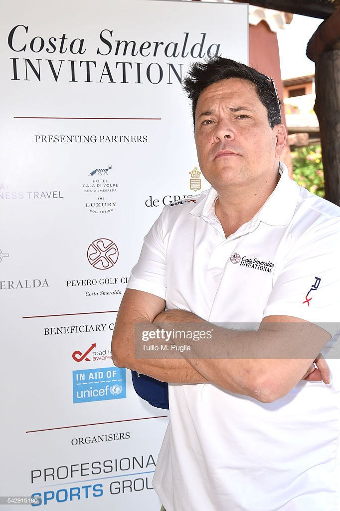 Dom Joly arrives at The Costa Smeralda Invitational golf tournament at Pevero Golf Club - Costa Smeralda on June 25, 2016 in Olbia, Italy.