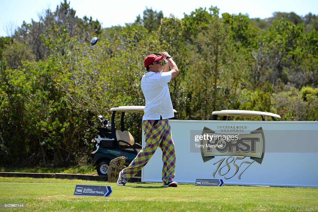 Dom Joly tees off during The Costa Smeralda Invitational golf tournament at Pevero Golf Club - Costa Smeralda on June 25, 2016 in Olbia, Italy.