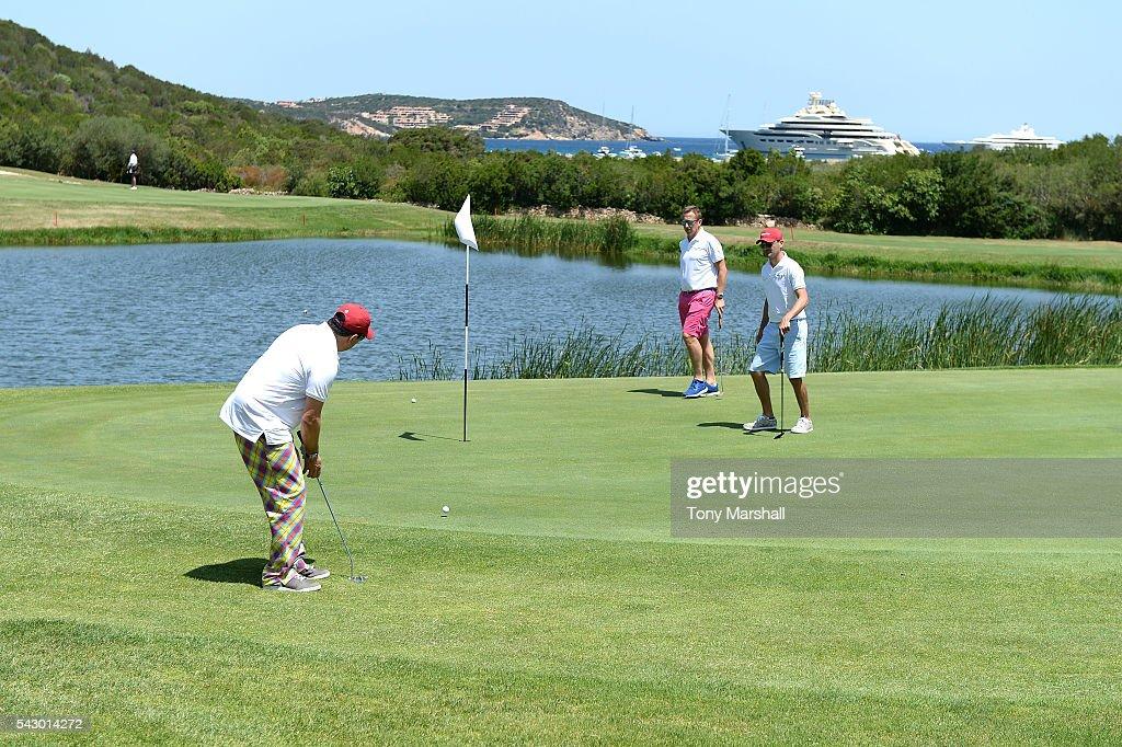 Dom Joly tees off during The Costa Smeralda Invitational golf tournament at Pevero Golf Club - Costa Smeralda on June 25, 2016 in Olbia, Italy.