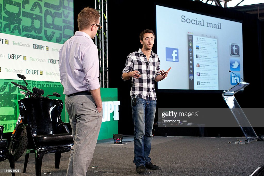 Dom Leca, chief executive officer of Sparrow, right, speaks at the TechCrunch Disrupt NYC 2011 conference in New York, U.S., on Wednesday, 24, 2011. The summit brings together leaders from various tech fields to discuss how the internet is disrupting industry after industry, from media and social commerce to payments and transportation. Photographer: Guy Calaf/Bloomberg via Getty Images