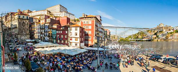 Dom Luis I bridge and the river Douro with tourists