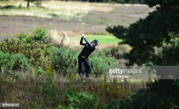 Dom Narramore of Dorset Golf and Country Club plays his first shot on the 3rd tee during Day Two of the Galvin Green PGA Assistants' Championship at...