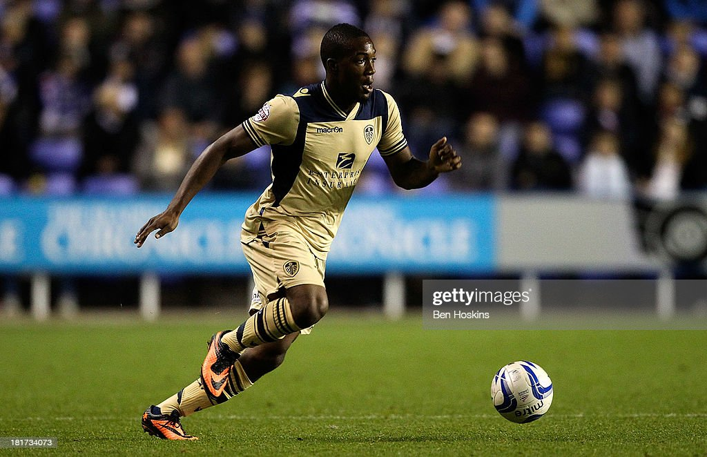 Dom Poleon of Leeds in action during the Sky Bet Championship match between Reading and Leeds United at Madejski Stadium on September 18, 2013 in Reading, England.