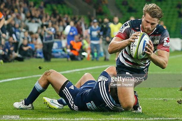 Dom Shipperley of the Rebels score a try during the round 13 Super Rugby match between the Rebels and the Blues at AAMI Park on May 8 2015 in...
