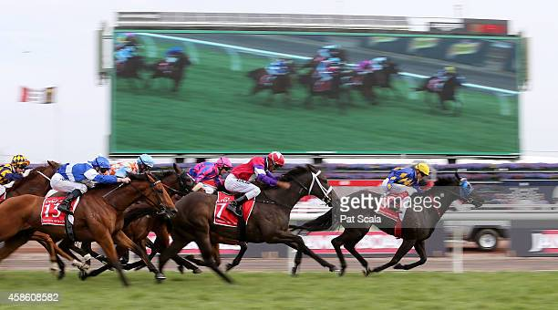Dom Tourneur riding Eclair Big Bang winning race 9 The Emirates Airline Handicap on Stakes Day at Flemington Racecourse on November 8 2014 in...