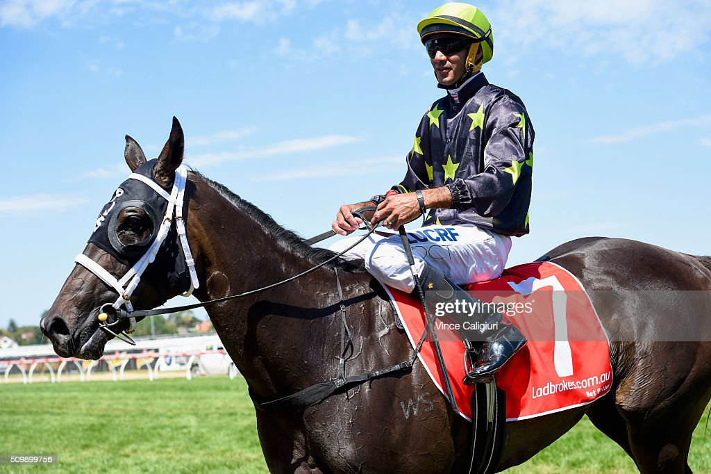 Dom Tourneur riding Samara Dancer after winning Race 3, Blue Diamond Prelude during Melbourne Racing at Caulfield Racecourse on February 13, 2016 in Melbourne, Australia.