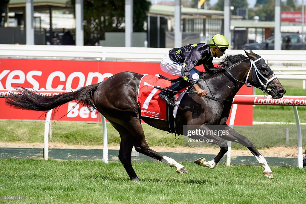 Dom Tourneur riding Samara Dancer wins Race 3, Blue Diamond Prelude during Melbourne Racing at Caulfield Racecourse on February 13, 2016 in Melbourne, Australia.