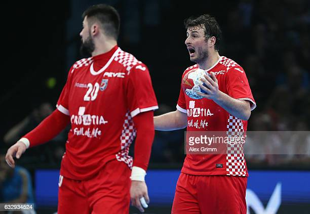 Domagoj Dunjak of Croatia reacts during the 25th IHF Men's World Championship 2017 Bronze Medal Game between Slovenia and Croatia at Accorhotels...