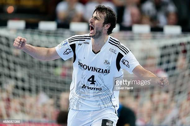 Domagoj Duvnjak of Kiel reacts during the DKB HBL Bundesliga match between THW Kiel and Rhein Neckar Loewen at Sparkassen Arena on April 5 2015 in...