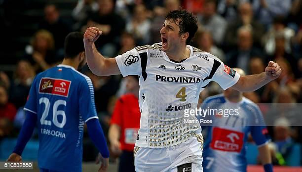Domagoj Duvnjak of Kiel velebrates after scoring during the VELUX EHF Champions League group A between THW Kiel and Orlen Wisla Plock at Sparkassen...