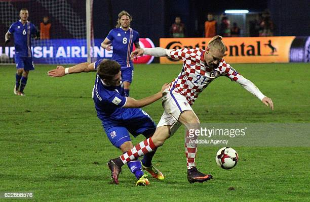 Domagoj Vida of Crotia in action during the FIFA 2018 World Cup Qualifier Group I match between Croatia and Iceland at Maksimir Stadium in Zagreb...