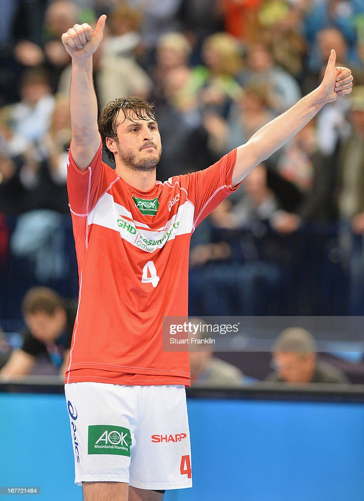 Domango Duvnjak of Hamburg celebrates during the Velux EHF Champions League quarter final second leg match between HSV Handball and SG Flensburg-Handewitt at O2 World on April 28, 2013 in Hamburg, Germany.