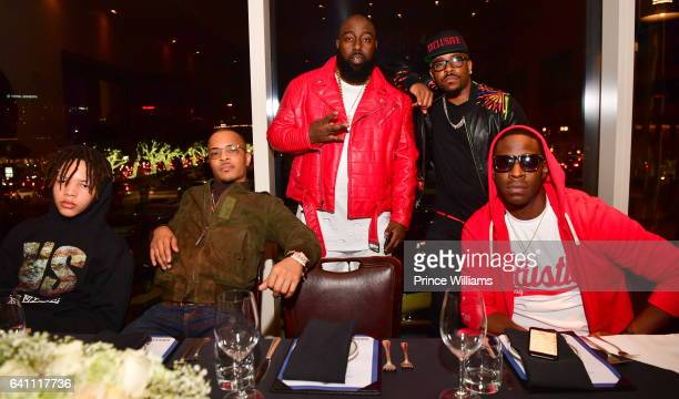 Domani Harris TI Trae Tha Truth Rocko and Young Dro attend a Grand Hustle Dinner for Trae Tha Truth at the Oceanaire on February 4 2017 in Houston...