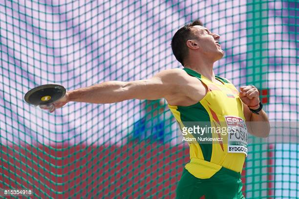 Domantas Poska from Lithuania competes in men's discus throw final during Day 4 of European Athletics U23 Championships 2017 at Zawisza Stadium on...